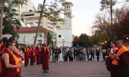 Students Join Tibetan Monks for Vigil
