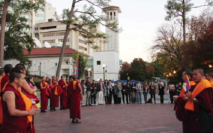 Students Join Tibetan Monks for Vigil