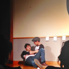 Loli Lucaciu/Asst. Student Life Editor  College junior Josh Jacobs (left) and college super senior Jake Krakovsky (right) act out the beginning scene of Rathskellar's April Fools' Day show last Sunday in Harland Cinema.
