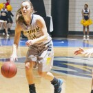 Sophomore guard Shellie Kaniut dribbles the ball for the Eagles. Kaniut scored 16 points as Emory defeated Oglethorpe University (Ga.) 80-61 in the team's home opener. Courtesy of Emory Athletics.