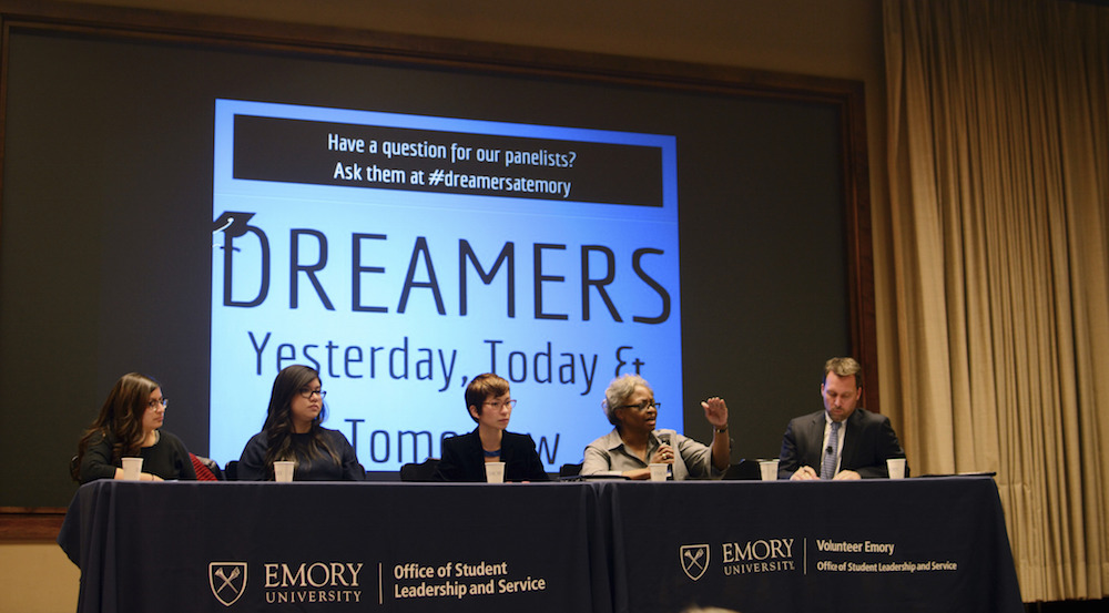 Emory professor of African American Studies Carol Anderson raised her hands in reference to the protests against violence against black people in Ferguson, Missouri at a panel to discuss parallels between the civil rights and undocumented students rights movements. Photo by Thomas Han / Photo Editor