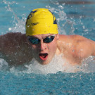 Junior John Galvin swims in the butterfly event at the Emory Invitational. Galvin added two NCAA 'B' cut times, helping the Emory Eagles win the invite against Birmingham Southern College (Ala.). The Eagles now are preparing for the NCAA Championships.  | Courtesy of Emory Athletics.