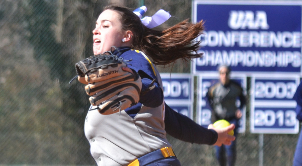 Sophomore pitcher Brittany File winds up for a pitch. File threw five perfect innings against the Rhodes College (Tenn.) Lynx. The 3n2 Invite will continue next weekend.  | Erin Baker/Staff