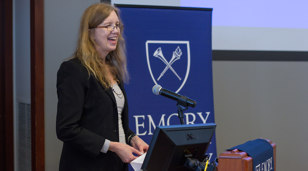 Pamela Scully, Professor of Women, Gender, and Sexuality Studies and African Studies, speaks at an Ebola and the Law in the US and West Africa/ Treatment, Vaccine Development and Ethics panel.