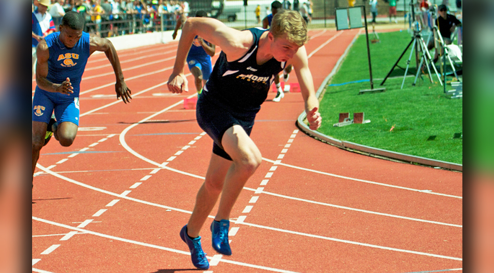 Freshman sprinter Daniel Pietsch competes at the Emory Classic this past weekend. Pietsch and the men's team won the meet, while the women's team came in second place.  | Courtesy of Emory Athletics