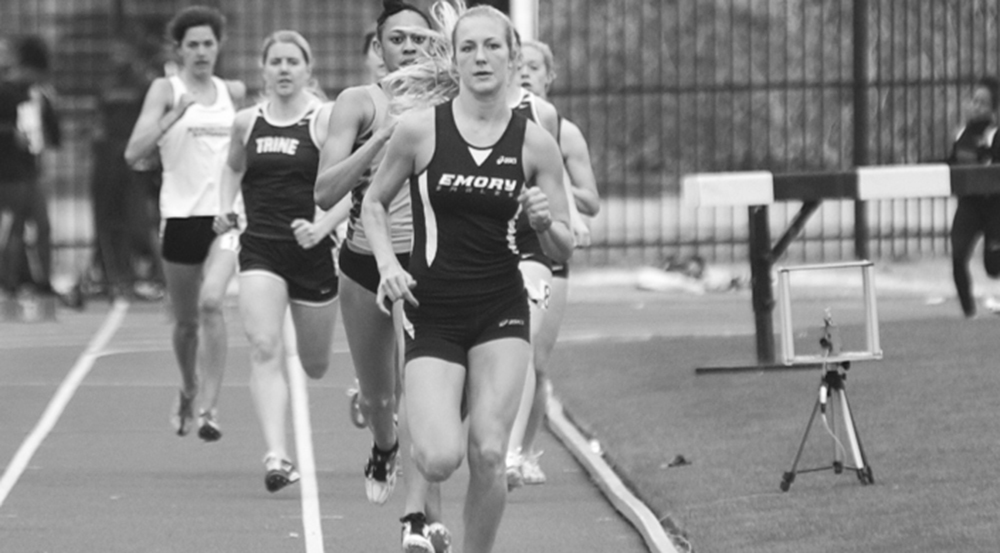 Senior Stephanie Crane leads a race. Crane and the track and field team will travel to High Point University (N.C.) for their next meet. | Courtesy of Emory Athletics