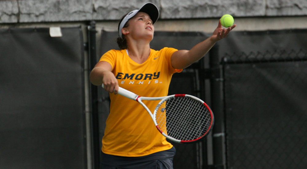 Freshman Bridget Harding serves the ball. Harding and the Eagles traveled to California during spring break for a week of games.  | Courtesy of Emory Athletics