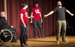 "Emory student improvisational comedy group Rathskellar teamed up with local Atlanta comedy group Dads Garage for this year's ""You're Not My Real Dad's (RETURNS)."" 