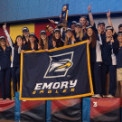The Emory women's swimming and diving team stands proud on the podium after winning the 2015 NCAA Division III Championships in Shenandoah, Texas. This year marks the team's sixth-straight win. The men's team placed fourth in the competition. | Courtesy of Emory Athletics
