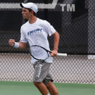 Senior Ian Wagner celebrates winning a point. Wagner and the Eagles won two matches and lost one last weekend in Vermont.  | Courtesy of Emory Athletics