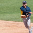 Junior infielder Jack Karras hurls the ball to his teammate. Karras and the Eagles split two games against Maryville College (Tenn.) last weekend. | Courtesy of Emory Athletics