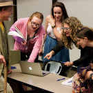 Photo By Julia Munslow | Pixar animator Fran Kalal (fourth from left) speaks to Emory students