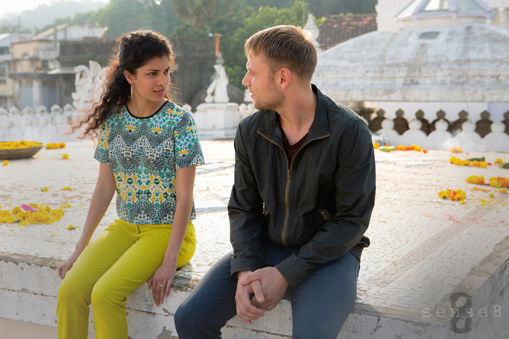 Kala (Tina Desai) and Wolfgang (Max Riemelt) share a moment on a rooftop in India. / Courtesy of Netflix