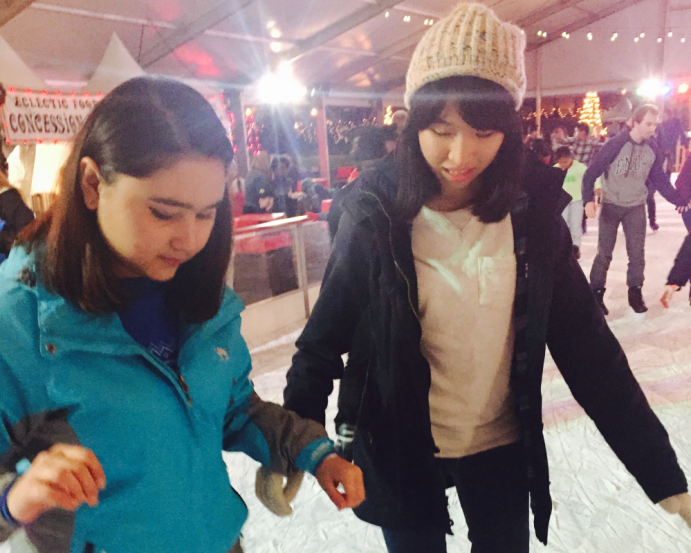 Students at the ice skating event in Centennial park that the Conversation Partner Program hosted this past December.