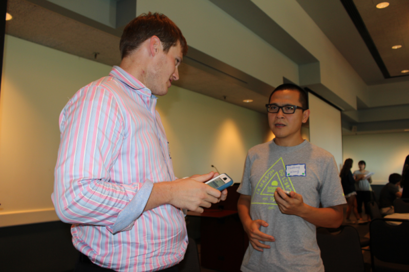 Students interact at the Conversation Partner Program's Fall 2015 kick-off social