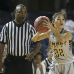 Senior guard Ilene Tsao holds the ball during their loss at Case Western this past weekend. | Courtesy of Emory Athletics