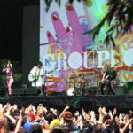 Grouplove played promptly after Music Midtown attendees were allowed to re-enter following a weather evacuation, reinvigorating the rain-soaked crowd with their upbeat and catchy tunes. / Melissa DeFrank/Staff