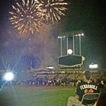 "José Fernández watches post-game fireworks at Dodger Stadium from a chair that he carried onto the field after he notched a win over Los Angeles, according to ESPN's Allison Williams. ""A big leaguer but always [a] kid at heart,"" Williams Tweeted with the photo. 