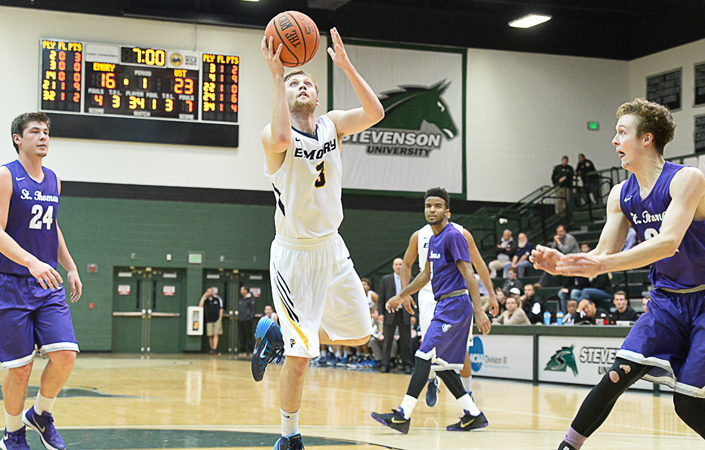 Emory junior point guard Whit Rapp's ability to distribute is a key factor in the Eagles' offensive balance. Photo courtesy of Emory Athletics.