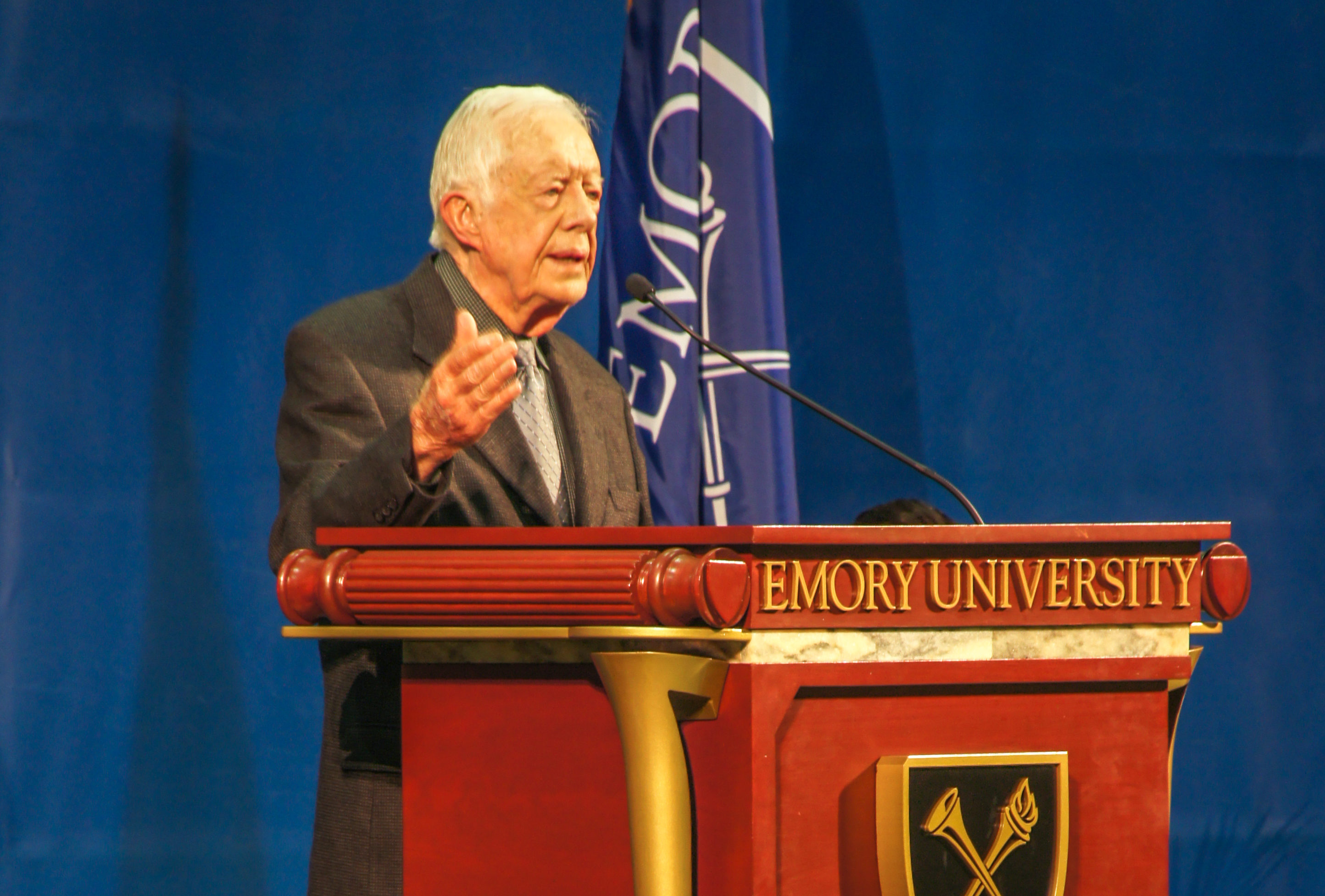Former U.S. President and Emory Distinguished Professor Jimmy Carter takes the stage at his annual Emory town hall to discuss gender discrimination and his hopes for the election season.