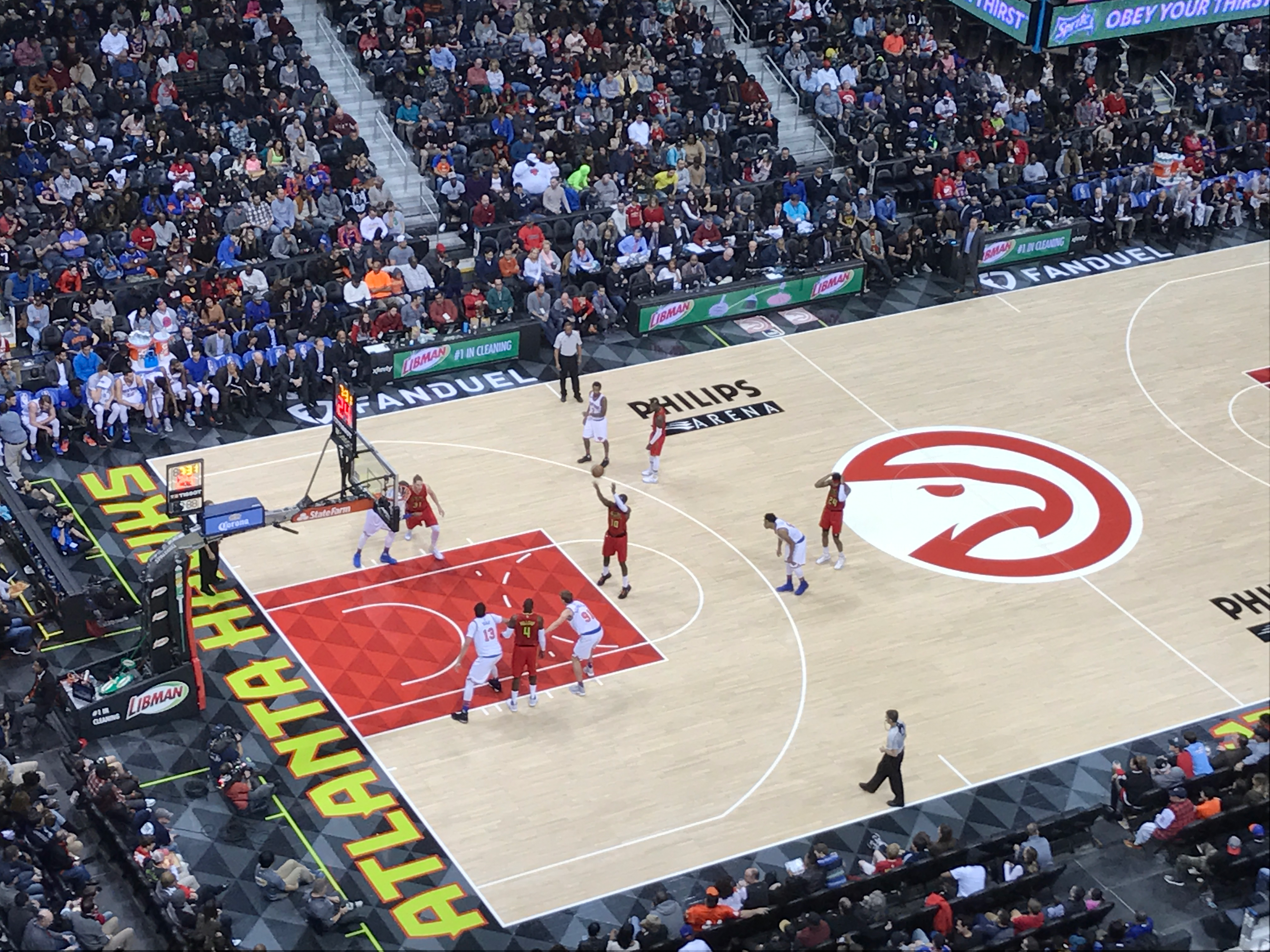 Hawks SG Tim Hardaway Jr. steps up to the line to take a free throw. Hardaway's 19 points often came at big moments in the Hawk's dramatic win.