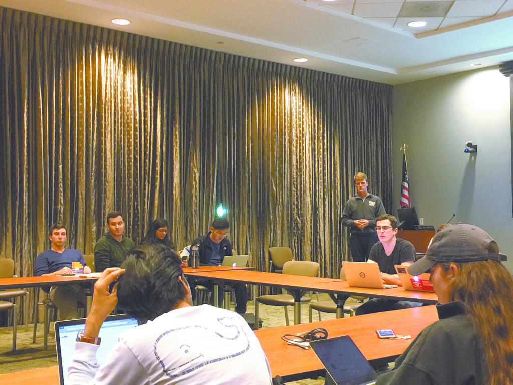 SGA President and College senior Max Zoberman proposes an undergraduate government structure should the bill to split SGA into autonomous branches pass Monday night. / Michelle Lou, News Editor
