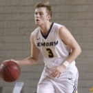 Junior guard Whit Rapp carries the ball up the floor for the Eagles. Photo Courtesy of Emory Athletics.