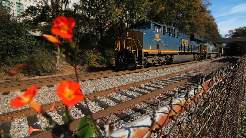 A photo College freshman Steven Chen captured of a train behind the depot in November.   Steven Chen/Contributing