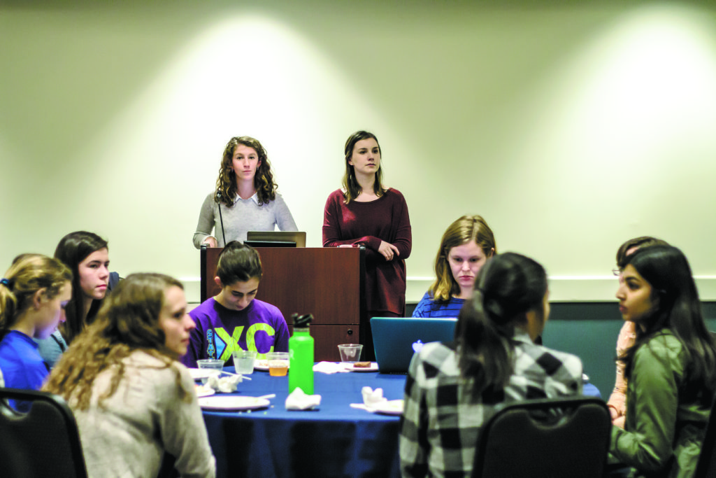 Food Advisory Committee at Emory (FACE) Co-Chairs Samantha Goodman and Katarina Bartel speak at the Feb. 2 town hall meeting. / Michelle Lou, News Editor