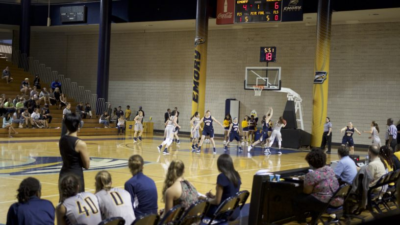 Emory freshman forward Erin Lindahl puts up a shot in the Eagles' final home game of the season. Photo courtesy Mathew Hammond.