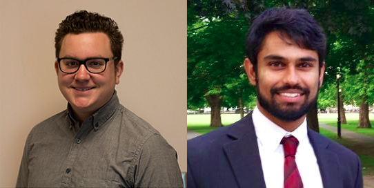 Mark Neufeld (18B) (LEFT) and Vineet Tiruvadi (19M) (RIGHT) were elected Graduate Student Government Association (GSGA) president and vice president, respectively.