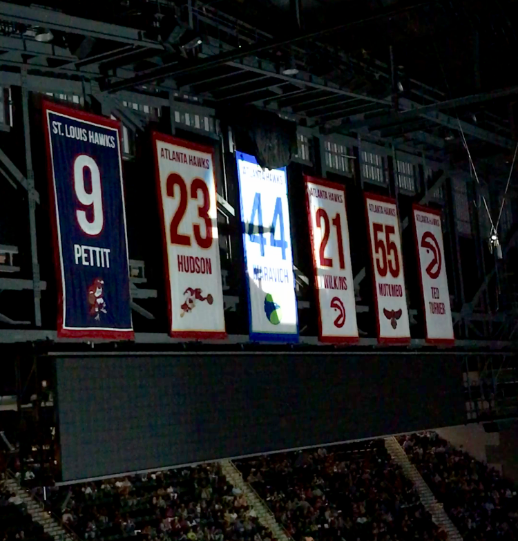 Maravich's number 44 banner in Philip's Arena.