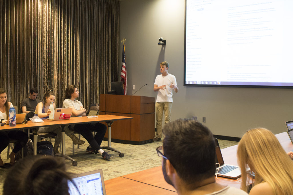 College-wide Representative William Palmer (18C) discusses the restructure bill, which he authored, at a Feb. 27 Student Government Association (SGA) meeting. / Michelle Lou, News Editor