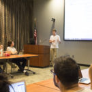 College-wide Representative Will Palmer (18C) discusses the restructure bill, which he authored, at a Feb. 27 Student Government Association (SGA) meeting. / Michelle Lou, News Editor