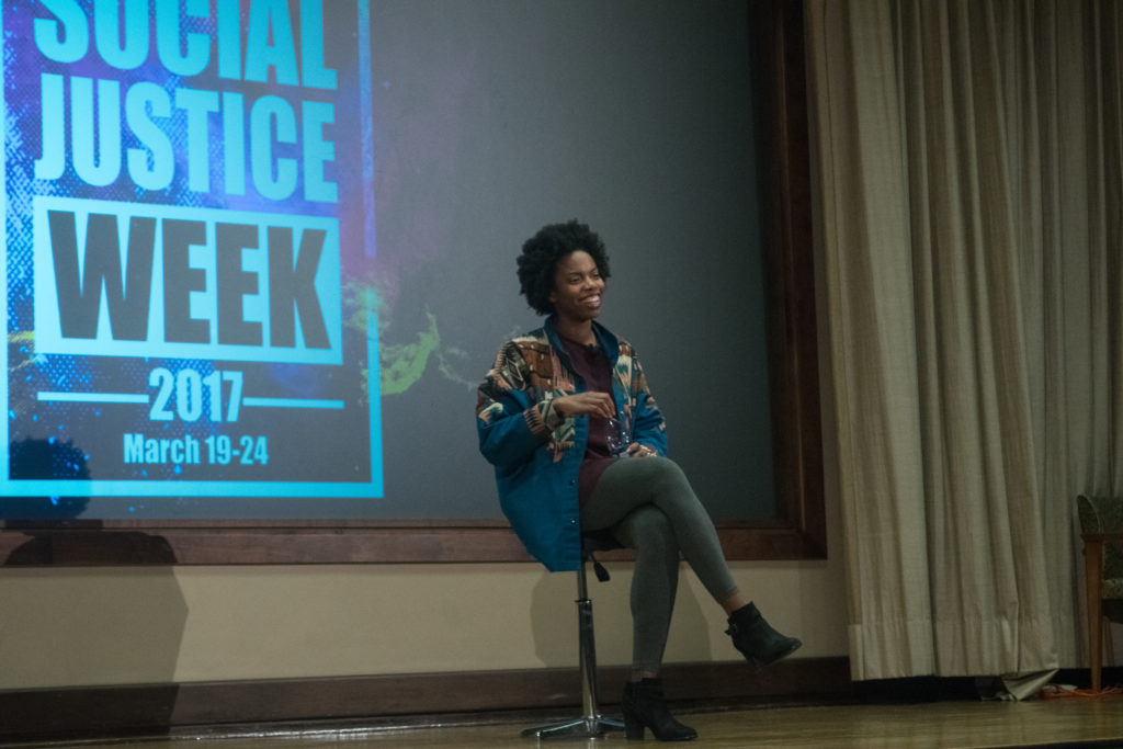 Comedian Sasheer Zamata speaks to the crowd about her experience as a black woman in the entertainment industry at College Council's 'State of Race' March 24./Sarah Taha, Staff