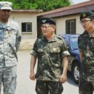 Minho Cho (19B) (Far Right) translates for American and South Korean military officials during his two years of required military service as a South Korean citizen. Courtesy of Minho Cho