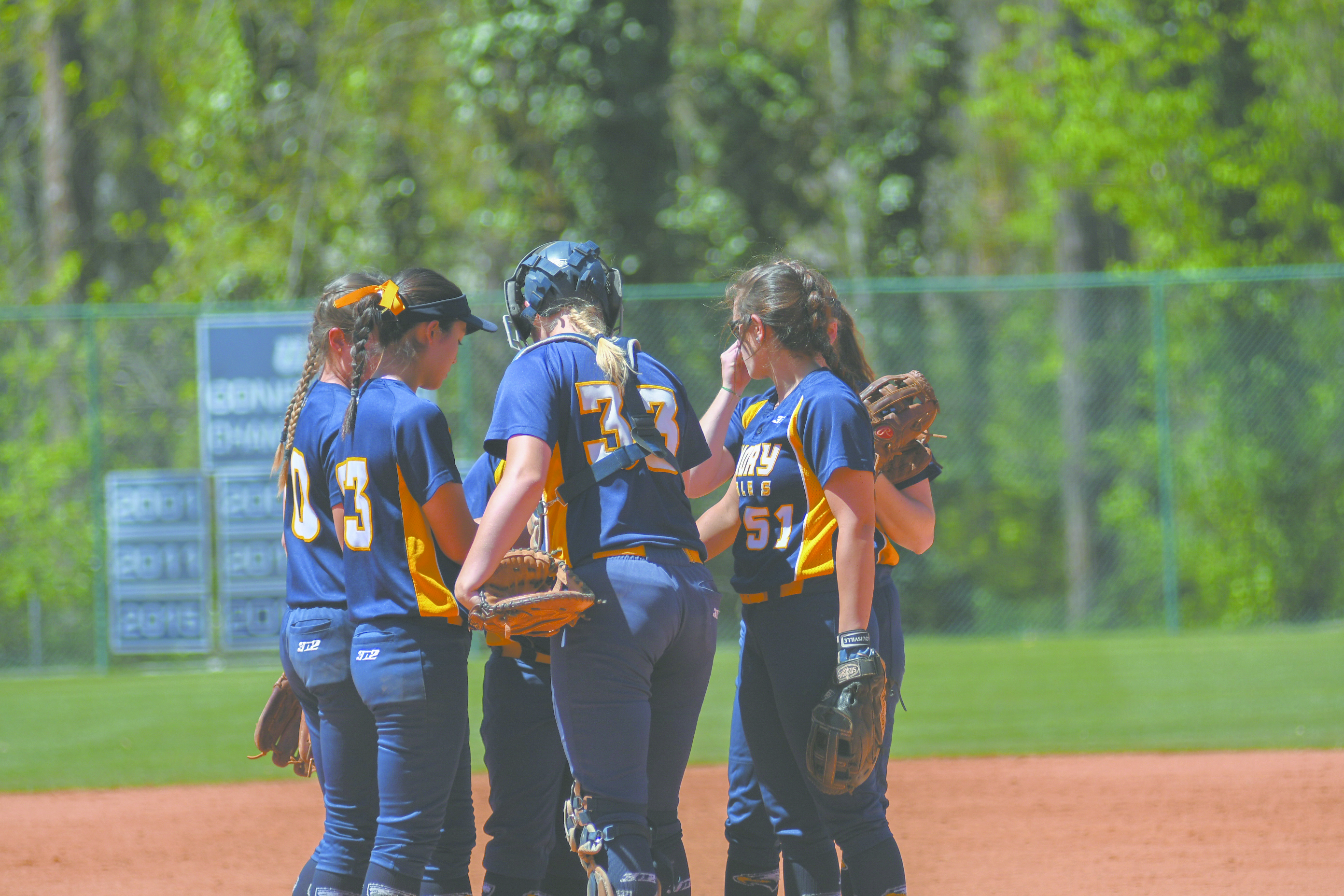 The team huddles around sophomore catcher Lana Herrmann for a quick conference. Gemy Sethaputra/Senior Staff.