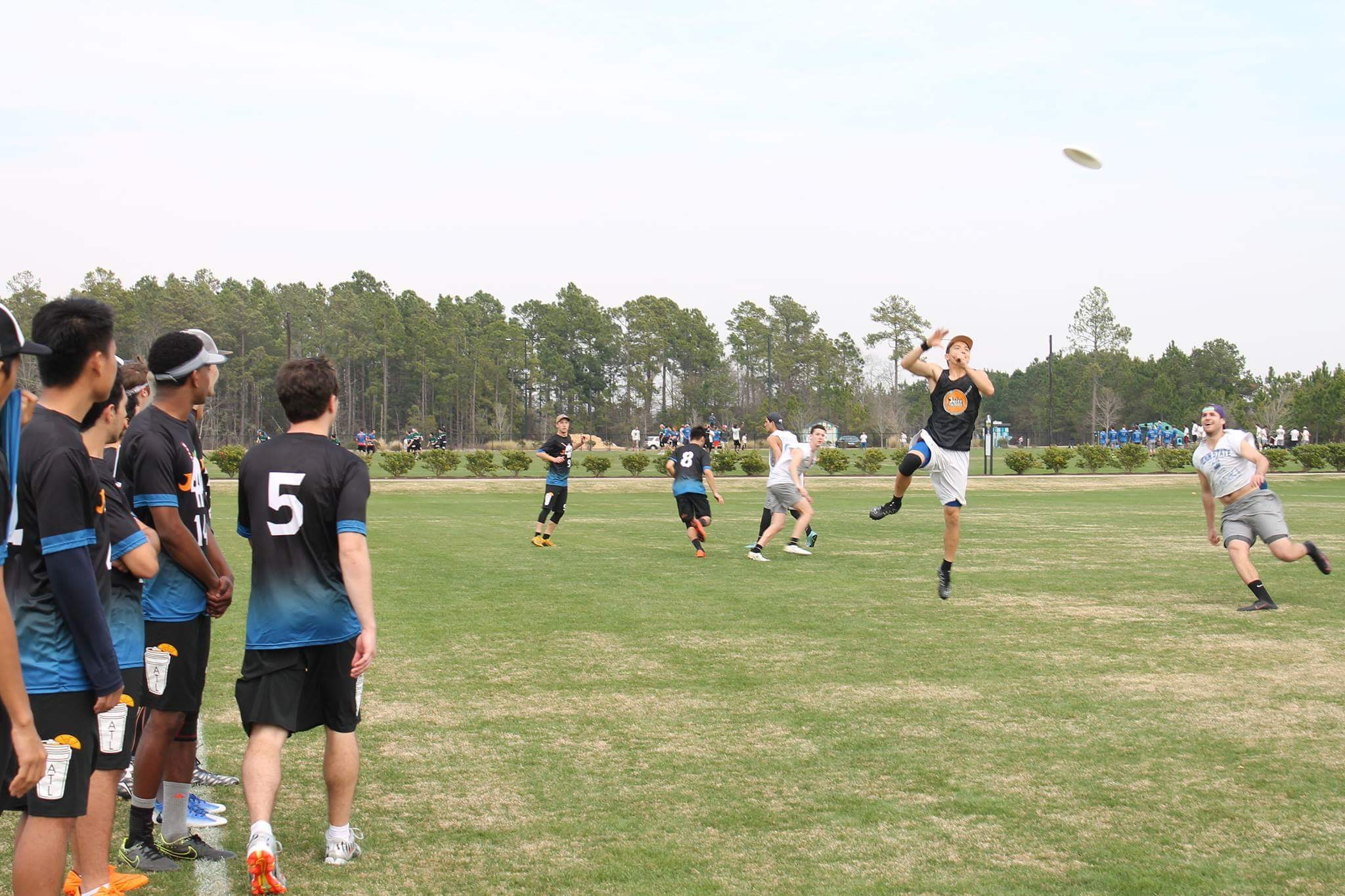The team looks on as Junior Anders Olsen leaps for the disc. Photo courtesy of Ishaan Dave.