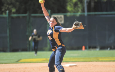 Senior pitcher Brittany File winds up for a pitch in the Eagles' home series against Brandeis University (Mass.). After dropping the first half of the series, the Eagles bounced back for two consecutive victories. Gemy Sethaputra/Senior Staff