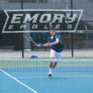 Sophomore James Spaulding prepares for a forehand strike in the Eagles' match April 18 against Washington & Lee University (Va.)