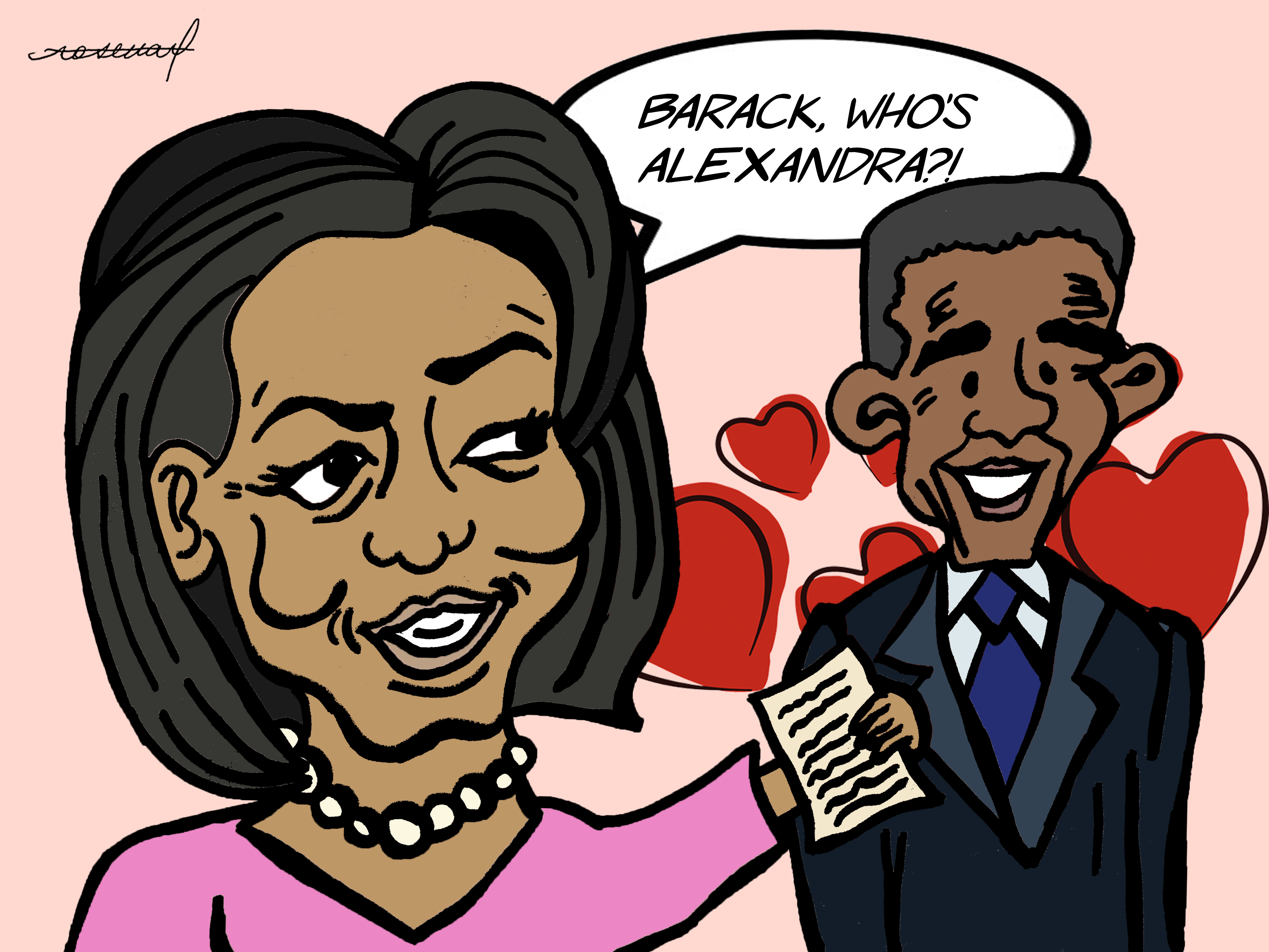 Cartoon: Young Obama's Letters Acquired by Rose Library