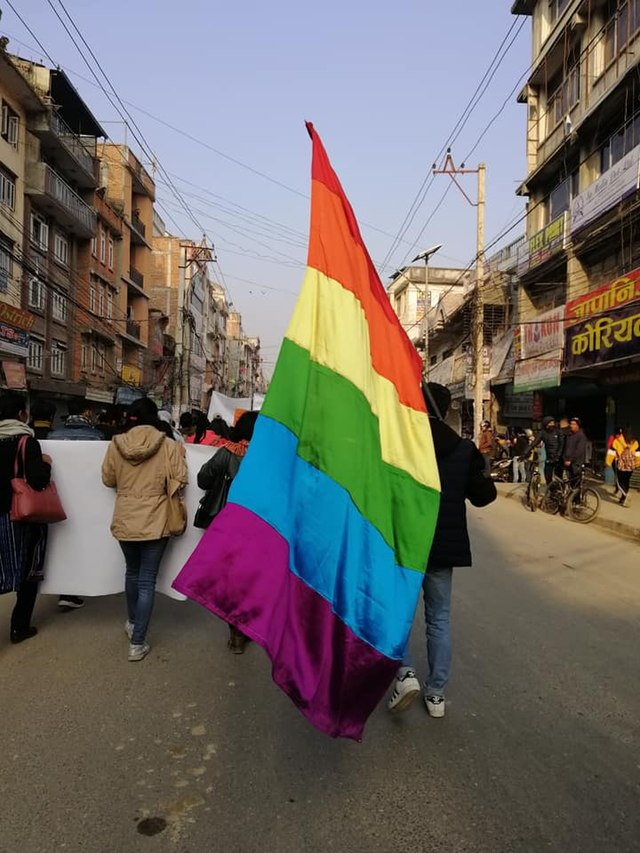 Queer Womxn Pride at Nepal's International Women's Day rally in 2019 (Wikimedia Commons)